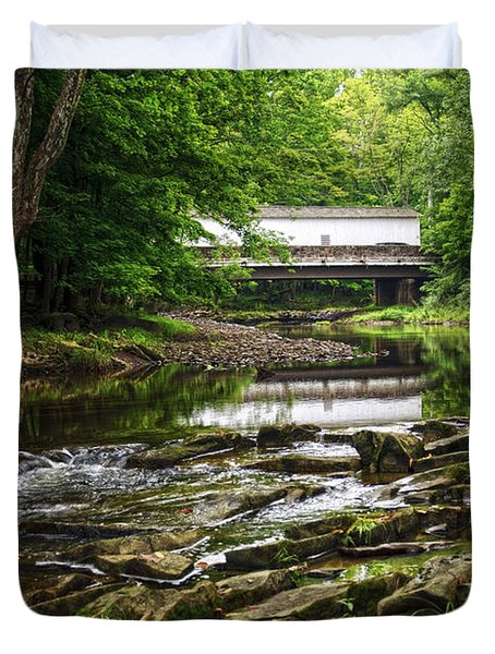 Duvet Cover featuring the photograph The Green Sergeants Covered Bridge II by Debra Fedchin
