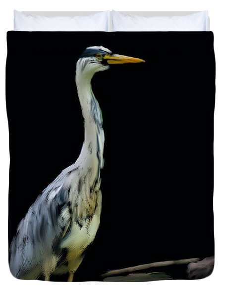The Grey Heron Duvet Cover by Brian Roscorla