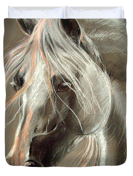 The Grey Horse Soft Pastel Duvet Cover by Angel  Tarantella