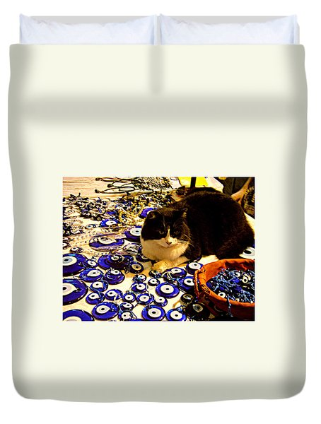 Duvet Cover featuring the photograph The Guard Of Evil Eye Beads by Zafer Gurel