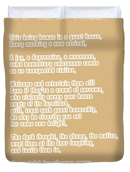 The Guest House Poem By Rumi Duvet Cover