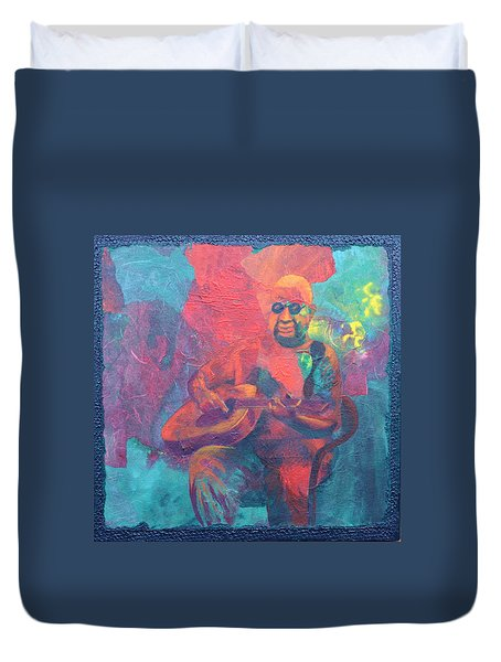 Duvet Cover featuring the painting The Guitar Player by Nancy Jolley