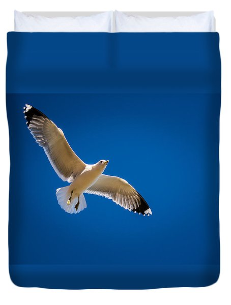 Duvet Cover featuring the photograph The Gull by Janis Knight