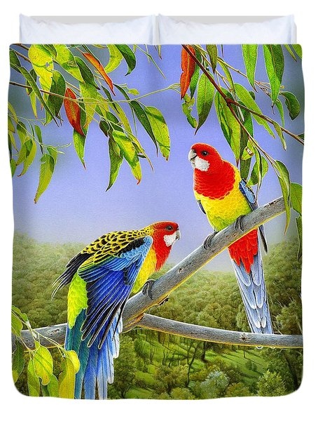 The Happy Couple - Eastern Rosellas  Duvet Cover by Frances McMahon