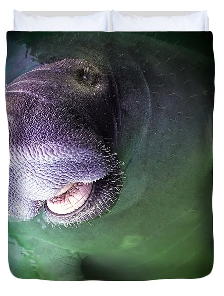 The Happy Manatee Duvet Cover