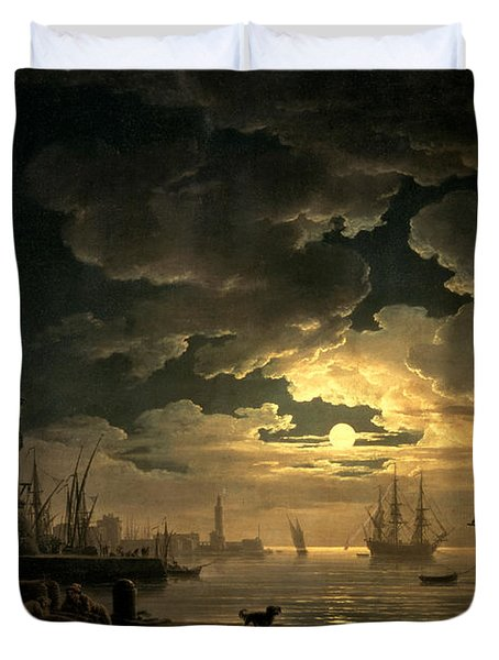 The Harbor Of Palermo Duvet Cover by Claude Joseph Vernet