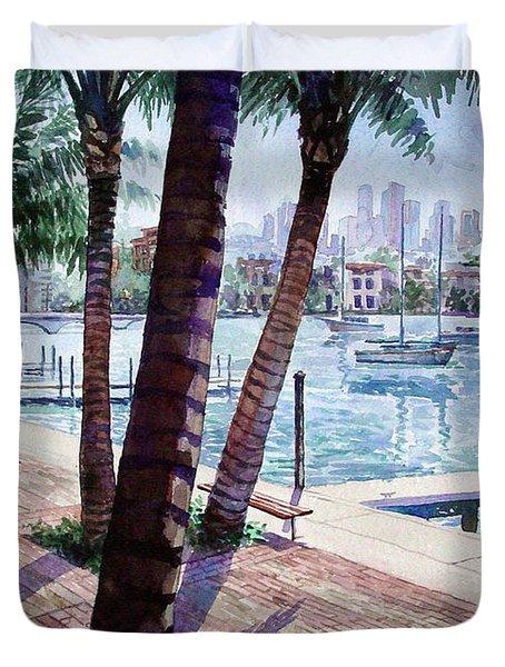 The Harbor Palms Duvet Cover