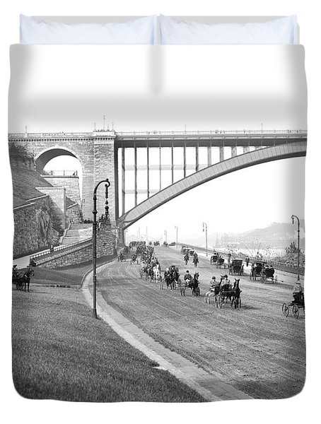 The Harlem River Speedway Duvet Cover by Detroit Publishing Company