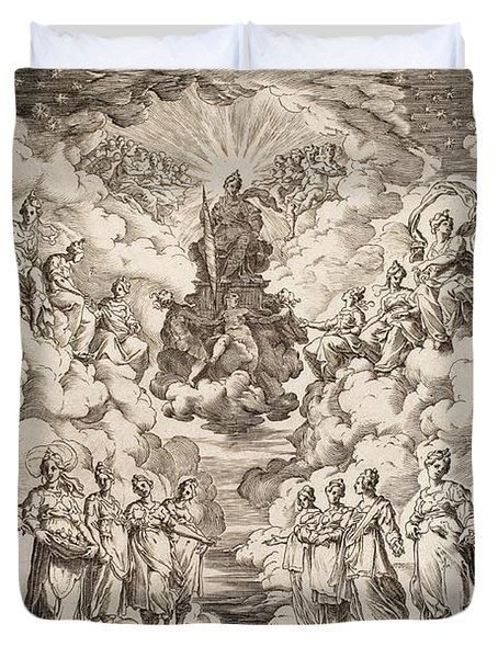 The Harmony Of The Spheres Duvet Cover by Agostino Carracci