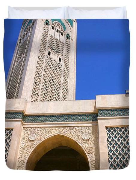 The Hassan II Mosque Grand Mosque With The Worlds Tallest 210m Minaret Sour Jdid Casablanca Morocco Duvet Cover