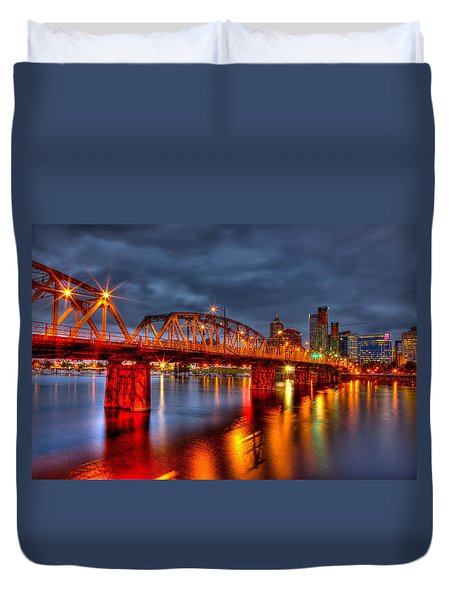 Duvet Cover featuring the photograph The Hawthorne Bridge - Pdx by Thom Zehrfeld