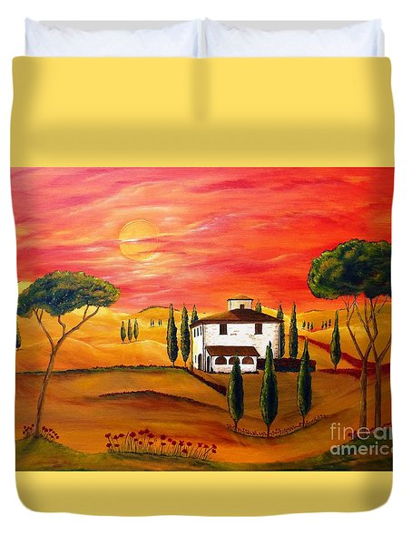 The Heat Of Tuscany Duvet Cover by Christine Huwer