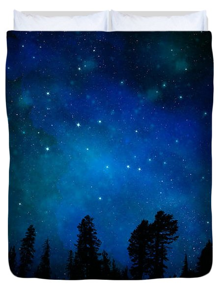 The Heavens Are Declaring Gods Glory Mural Duvet Cover