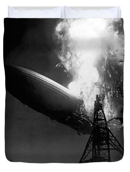 The Hindenburg In Flames Duvet Cover