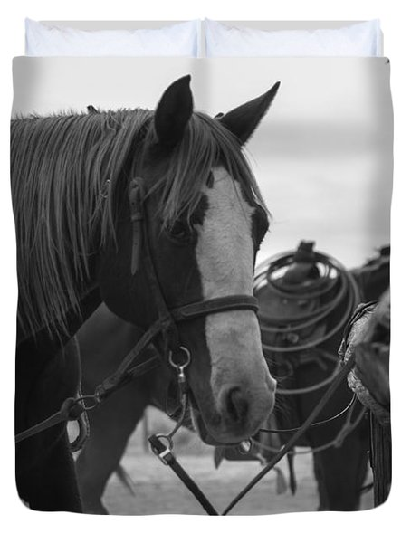 Duvet Cover featuring the photograph The Hitching Post by Amber Kresge