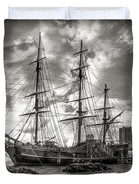 The Hms Bounty In Black And White Duvet Cover by Debra and Dave Vanderlaan