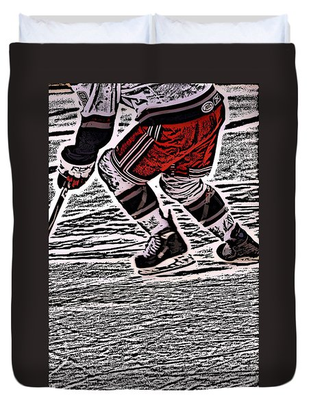 The Hockey Player Duvet Cover by Karol Livote