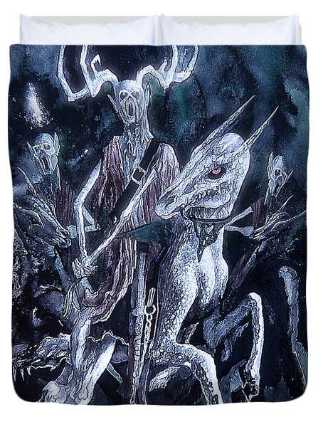 Duvet Cover featuring the painting The Horned King 2 by Curtiss Shaffer