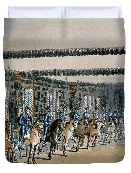 The Horse Armour Tower, Print Made Duvet Cover by T. & Pugin, A.C. Rowlandson