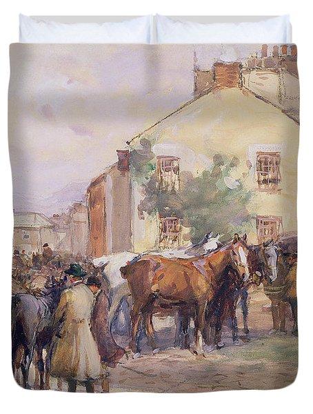 The Horse Fair  Duvet Cover by John Atkinson
