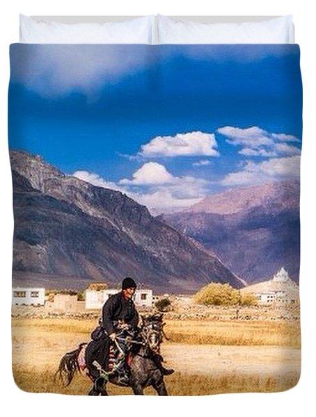 The Horse Rider, Zanskar Duvet Cover