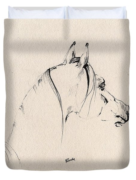 The Horse Sketch Duvet Cover by Angel  Tarantella