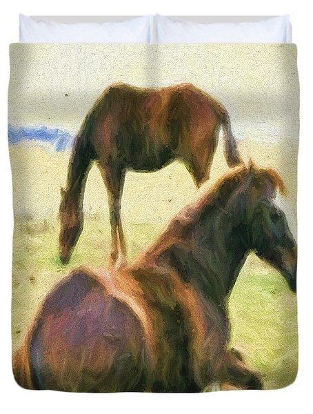 Duvet Cover featuring the digital art The Horses by Cathy Anderson