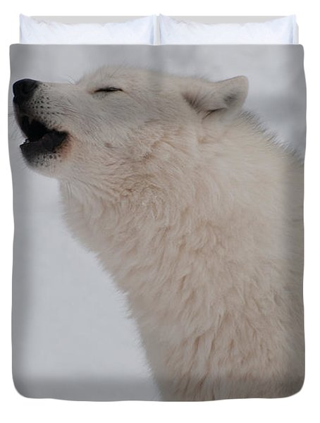 Duvet Cover featuring the photograph The Howler by Bianca Nadeau