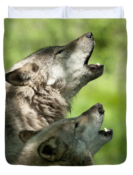 Duvet Cover featuring the photograph The Howling by Wolves Only