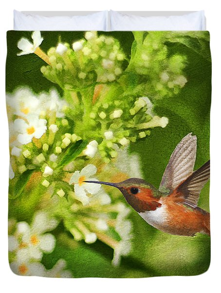 The Hummer And The Butterfly Bush Duvet Cover by Darren Fisher