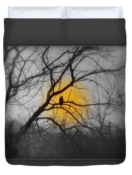 The Hunters Moon And The Barred Owl Duvet Cover