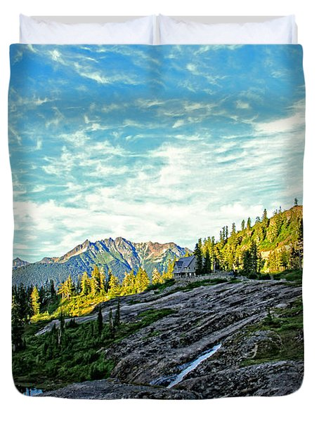 Duvet Cover featuring the photograph The Hut. by Eti Reid
