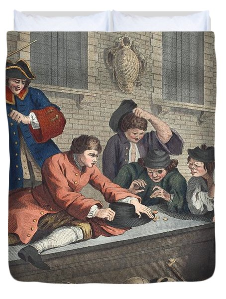 The Idle Prentice At Play In The Church Duvet Cover by William Hogarth
