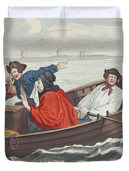 The Idle Prentice Turned Away And Sent Duvet Cover by William Hogarth