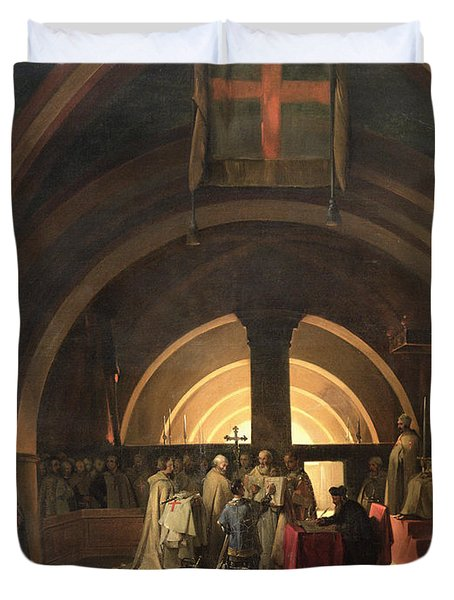 The Inauguration Of Jacques De Molay Into The Order Of Knights Templar In 1295 Oil On Canvas Duvet Cover