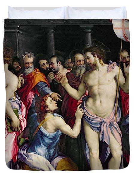 The Incredulity Of Saint Thomas Duvet Cover by Francesco de Rossi Salviati Cecchino