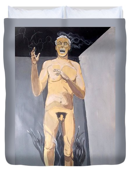 Duvet Cover featuring the painting The Insanity And Its Madness Enajenacion Y Su Locura by Lazaro Hurtado