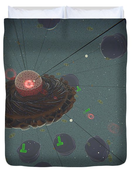 The Interior Of An Eukaryotic Cell Duvet Cover by Stocktrek Images