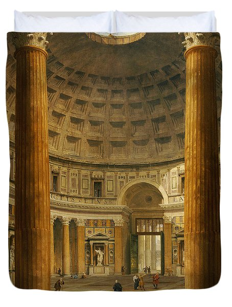The Interior Of The Pantheon Duvet Cover by Giovanni Paolo Panini