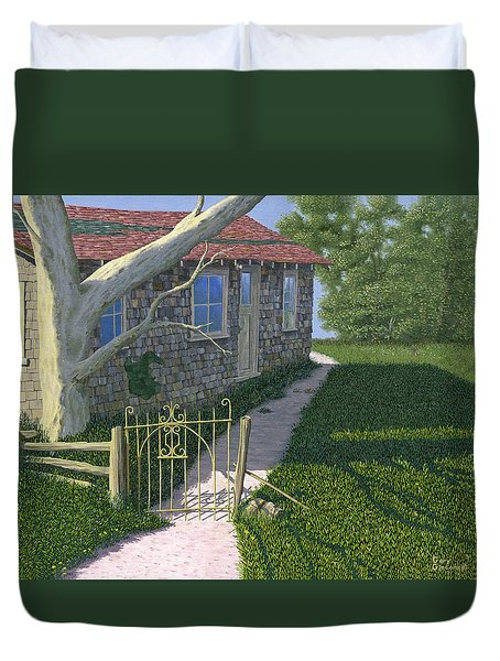 Duvet Cover featuring the painting The Iron Gate by Gary Giacomelli