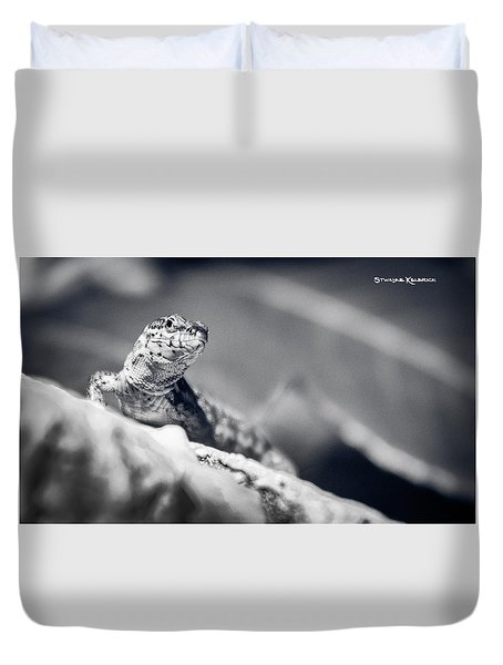 Duvet Cover featuring the photograph The Iron Lizard II by Stwayne Keubrick