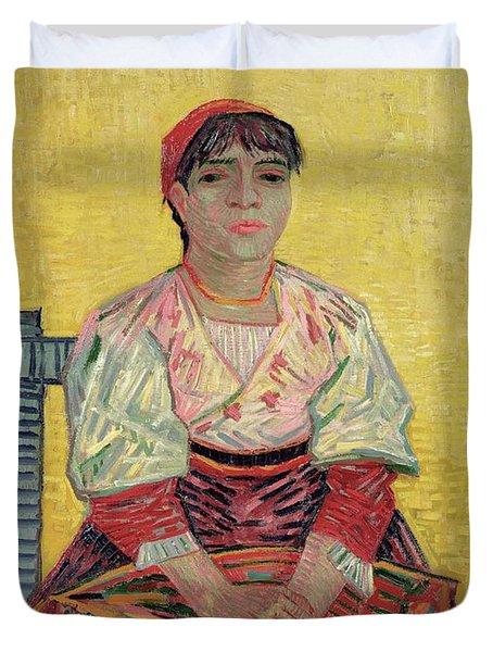 The Italian  Agostina Segatori Duvet Cover by Vincent Van Gogh