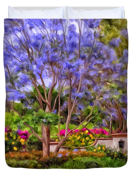 Duvet Cover featuring the painting The Jacaranda by Michael Pickett