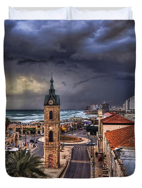 the Jaffa old clock tower Duvet Cover