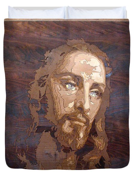 The Jesus Christ Marquetry Wood Work Duvet Cover by Persian Art