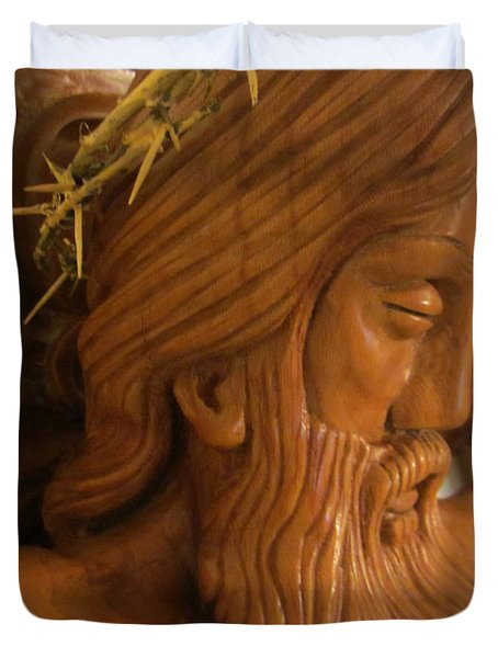 The Jesus Christ Sculpture Wood Work Wood Carving Poplar Wood Great For Church 2 Duvet Cover by Persian Art
