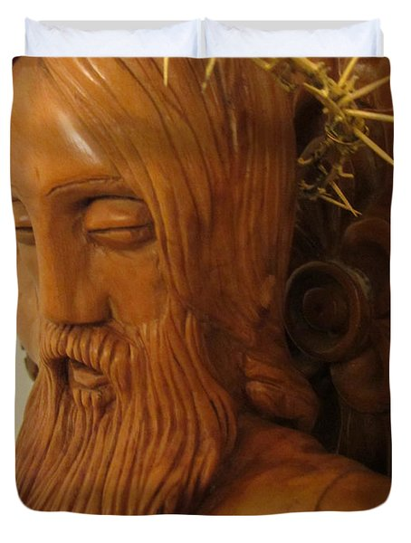 The Jesus Christ Sculpture Wood Work Wood Carving Poplar Wood Great For Church 3 Duvet Cover by Persian Art