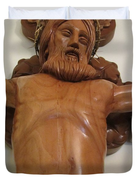 The Jesus Christ Sculpture Wood Work Wood Carving Poplar Wood Great For Church 4 Duvet Cover by Persian Art