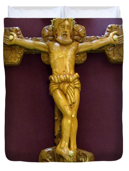 The Jesus Christ Sculpture Wood Work Wood Carving Poplar Wood Great For Church Duvet Cover by Persian Art