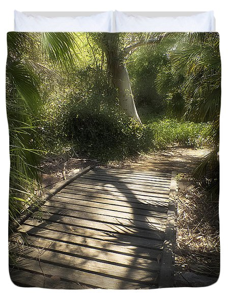 Duvet Cover featuring the photograph The Journey Along The Path Comes With Light And Shadows by Lucinda Walter